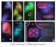 Set of Gradient light in dark backgrounds for screen, wallpaper. Of mobile, presentation, page. Page for presentation, motivation card, slide with scheme vector illustration