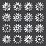 Set of gradient silver gear for info graphic design. Contains with 16 items, organize by one item per layer royalty free illustration