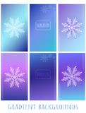 Set of Gradient vector backgrounds - Winter with snowflake and v. Set of Gradient vector backgrounds Winter with snowflake and vertical lines, halftone element royalty free illustration