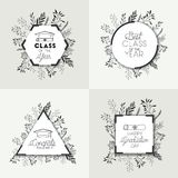 Set graduating lettering icons. Vector illustration design Royalty Free Stock Photo