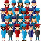 Set graduation gown and mortarboard. Illustration of graduates in gown and mortarboard Stock Photo