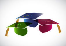 Set of graduation hats. tassel. illustration Royalty Free Stock Photo