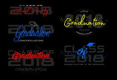Set. Graduation label. Vector text for graduation design, congratulation event, party, high school or college graduate. Lettering Class of 2018 for greeting Stock Photos
