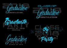 Set. Graduation label. Vector text for graduation design, congratulation event, party, high school or college graduate. Lettering Class of 2018 for greeting Royalty Free Stock Images