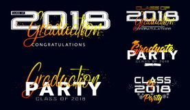 Set. Graduation label. Vector text for graduation design. Congratulation event, party, high school or college graduate. Lettering Class of 2018 for greeting Royalty Free Stock Photos
