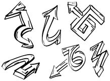 Set of graffiti arrows Stock Photos