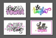 Set of Graffiti Fonts Vector Illustration Slogans. Set of graffiti fonts slogans isolated on white background. Vector illustration with signs Be a Rainbow, Hello Stock Image