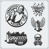 Set of graffiti school and street art labels, badges, emblems and design elements. Royalty Free Stock Photos