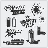 Set of graffiti school and street art labels, badges, emblems and design elements. Royalty Free Stock Images