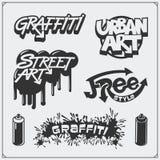 Set of graffiti school and street art labels, badges, emblems and design elements. vector illustration