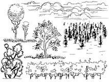 Set graficzna kreskowa ilustracja otoczenie drzewa na białym tle ilustracja wektor