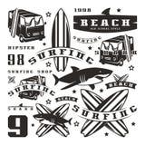 Set graficzni elementy Autobus, surfing, rekin Zdjęcie Royalty Free