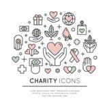 Set Graficzni elementy dla organizacj niekomercyjnych i darowizny Centre ilustracja wektor
