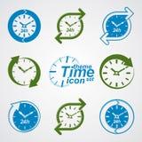 Set graficzny sieć wektor 24 godziny zegar, bez odpoczynku mieszkanie Zdjęcie Royalty Free