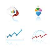 Set grafische Symbole auf analytischem Thema Stockbild