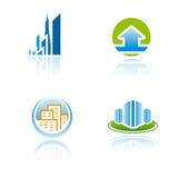 Set grafische Symbole auf Architekturthema Lizenzfreies Stockfoto