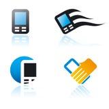 Set grafische Symbole auf Kommunikationsthema Stockbilder