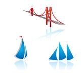 Set grafische Symbole auf Reisenthema Stockfoto