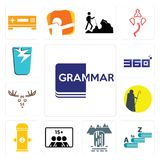 Set of grammar, vocabulary, waterfall, number players, fire hydrant, shepherd, moose, 360 degree, broken glass icons. Set Of 13 simple editable icons such as Royalty Free Stock Photo