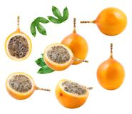 A set of granadilla fruit isolated. On white background. Collection of design elements.Clipping path included Stock Images