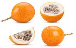 Set granadilla fruit whole, cut in half, slice stock photography