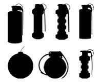 Set granat ręczny sylwetki Zdjęcie Stock