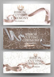 Set of grand opening banners with beige curly sparkling ribbons and floral design background. Royalty Free Stock Images