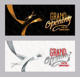 Set of grand opening banners with textured gold and silver cut ribbon Royalty Free Stock Images