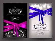 Set of grand opening cards with long ribbons Royalty Free Stock Photos