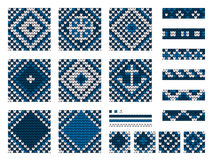 Set of Grandma marine knitting patterns Royalty Free Stock Photo