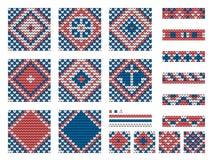 Set of Grandma marine knitting patterns Stock Image