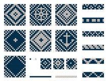 Set of Grandma marine knitting patterns Stock Photos
