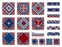 Set of Grandma marine knitting patterns Stock Photography
