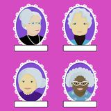 Set of grandmas portrait in oval frame. Makind with clipping mask vector Stock Photography