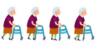 Set of Grandmother Characters Moving on Walkers. Vector colorful illustrations isolated on white. Aged woman impairment invalid, retired person Royalty Free Stock Photo