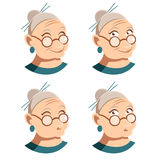 Set of grandmother face icons Stock Photo