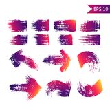 Set of grange abstract textured vector arrows and strokes.   Stock Photos