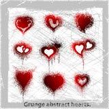 Set  grange hearts. Vector illustration. Vector illustration. Abstract grunge symbols. Design elements Stock Photo