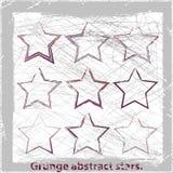 Set  grange stars. Vector illustration. Vector illustration. Abstract grunge symbols. Design elements Stock Images