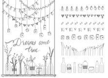Set granicy, girlandy, słoje, butelki, kwiaty, flaga, lampy ilustracji