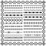 Set granicy w etnicznym plemiennym stylu 30 deseniowych muśnięć inside Zdjęcie Stock