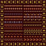 Set granicy w etnicznym plemiennym stylu 30 deseniowych muśnięć inside Obraz Stock