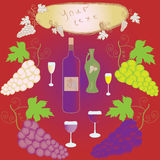 Set of grapes, wineglass, bottle and frame Stock Photography