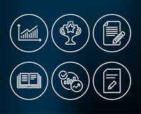 Graph, Education and Statistics icons. Article, Victory and Edit document signs. Set of Graph, Education and Statistics icons. Article, Victory and Edit Stock Image