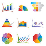 Set of Graph Icons - Diagrams and Charts - Rainbow Colors Stock Photo