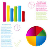 Set of graph statistic info graphic flat style Royalty Free Stock Images