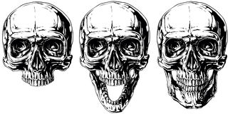Set of graphic black and white human skull tattoo Royalty Free Stock Photo