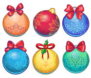 A set of graphic cartoon hand drawn christmas balls. A set of beautiful hand drawn christmas balls Stock Image