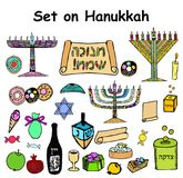 A set of graphic color elements on the Hanukkah Jewish holiday. Doodle, lettering. Hand draw, sketch. Vector illustration. On isolated background