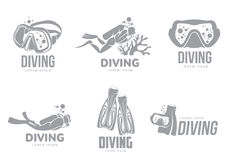Set of graphic diving logo templates with divers, mask, flippers Stock Photos